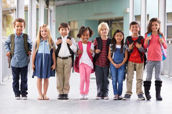 Public school chilren in line